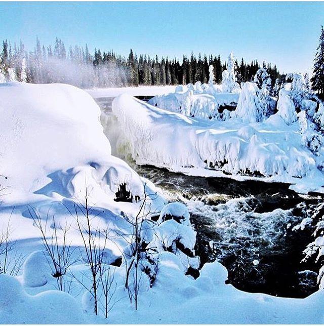Frozen waterfall in Manitoba, Canada