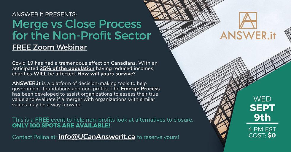 AnswerIt webinar flyer, merge vs close process for the non-profit sector