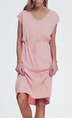 Pink T-shirt dress with Scrunch Tie Waist
