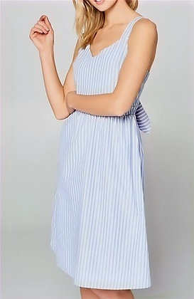 Blue Striped Sleeveless Tie-back Dress