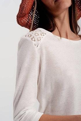 Lightweight Cream Crochet Insert Top