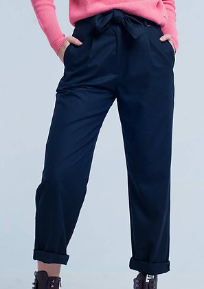 Navy Wide Cropped Pants with Bow Tie