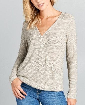 Long Sleeve Lightweight Knit Surplice Top
