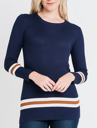 Long Fitted Navy Sweater