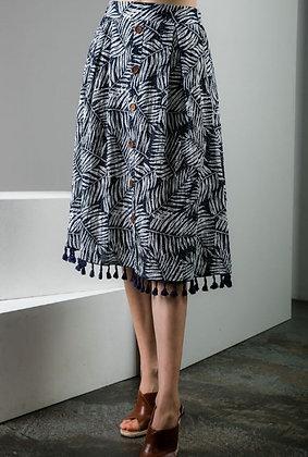 Boho Navy Patterned Skirt