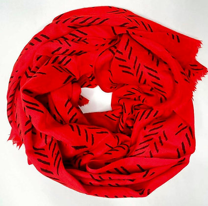 Red and Black Patterned Scarf