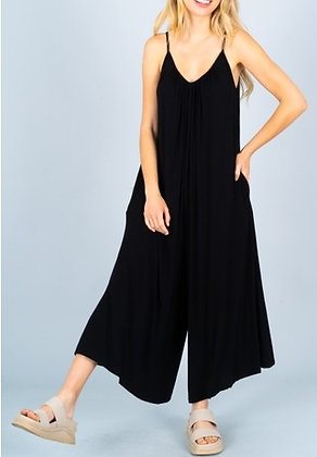 Black Spandex Soft Knit Jumpsuit