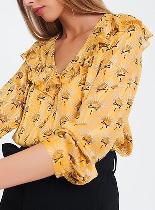 Yellow Print Ruffle Blouse