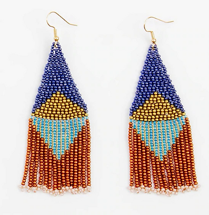 Graphic Fringe Beaded Earring