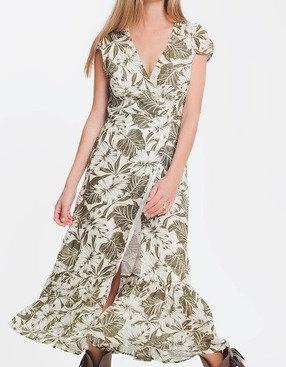 Green Tropical Palm Print Wrap Dress