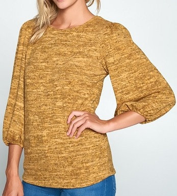 Mustard Sweater Knit with Puff Sleeve