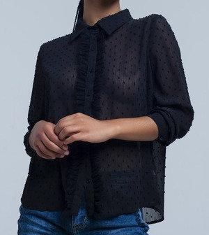 Black Transparent Embroidered Polka Dot Blouse
