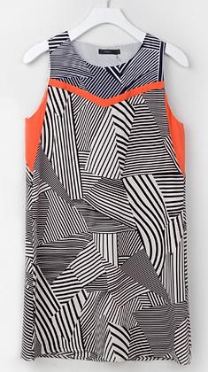 Navy Print Shift Dress