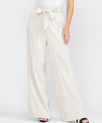 Cream Linen Tie Pants