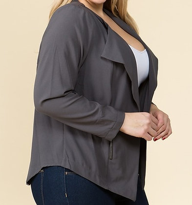 Charcoal Grey Drape Jacket
