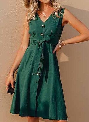 Hunter Green Button Up Dress