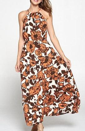 Autumn Floral Halter Maxi Dress