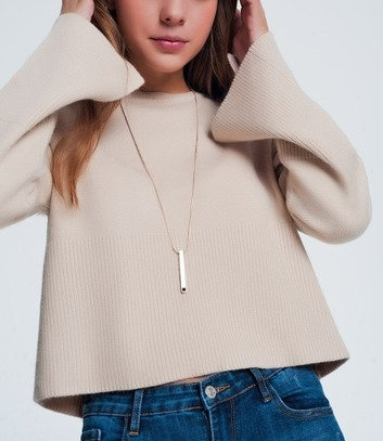 Beige Sweater with Long Bell Sleeves