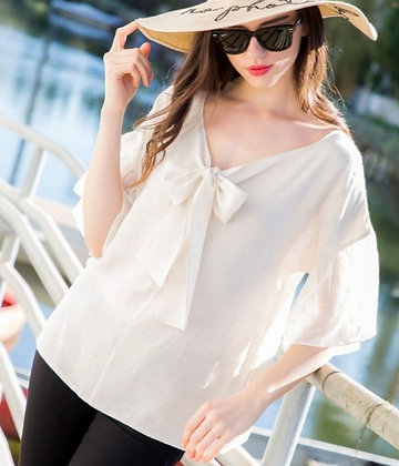 Linen Blouse with Tie Collar