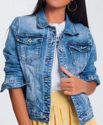 Cropped Denim Jacket in Light Blue Wash
