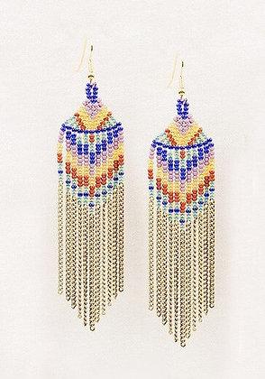 Beaded Chain Fringe Earrings