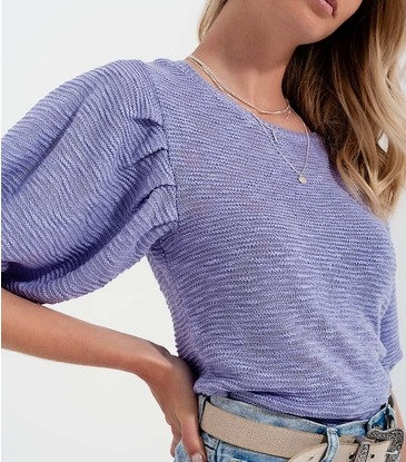 Lilac Short Sleeve Knitted Top