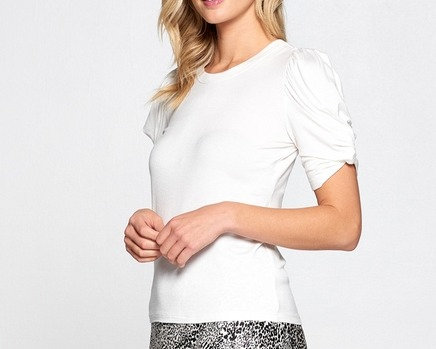 Solid White Scrunched Sleeve Top