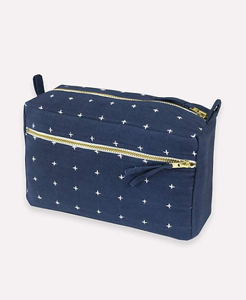 Small Cross-Stitch Toiletry Bag in Navy