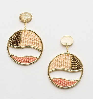 Beaded Gold and Coral Canvas Earrings