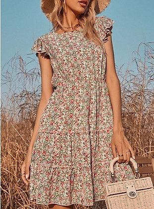 Floral Print Short Flutter Sleeve Mini Dress