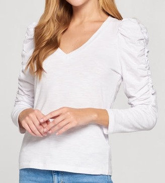 Ruched Sleeve White Knit Top