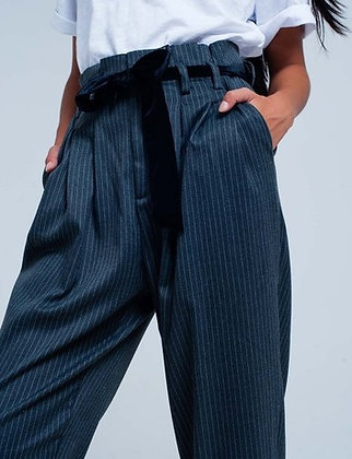 Grey Pin Striped High Waisted Pants