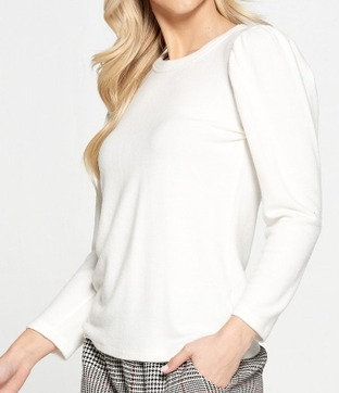 Ivory Brushed Knit Sweater with Puff Sleeve