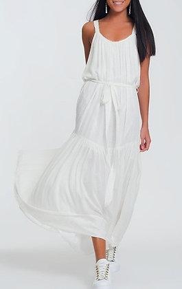 Cross Back White Shimmer Maxi Dress