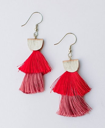 Cozumel Tassel Red Earrings