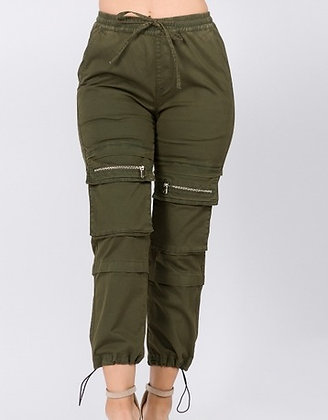 High Waist Utility Joggers - Olive color
