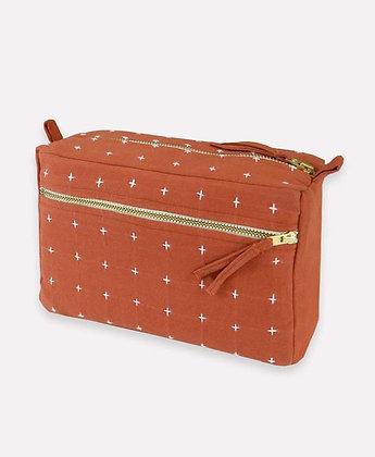 Rust Cross Stitch Toiletry Bag