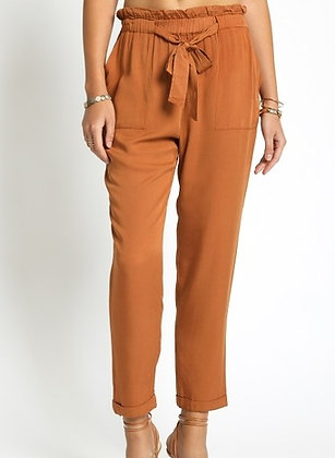 Silk Rust Tie Pants
