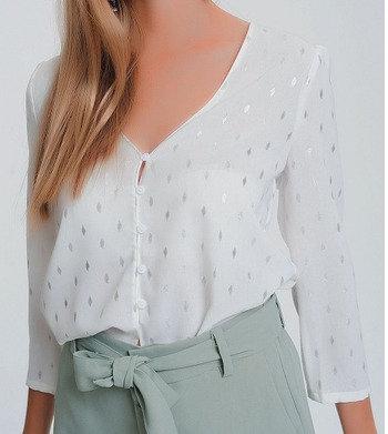 Button up Blouse in White Metallic Print