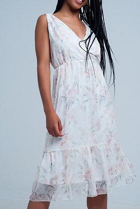 Chiffon Floral Midi Dress