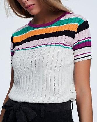Knitted Stripe Crop Top