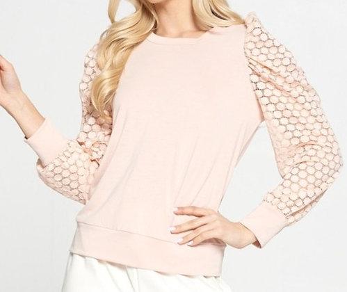 Pink Sheer Polka Dot Puff Sleeve Top