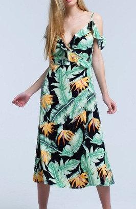 Black Midi Wrap Dress in Tropical Leaf Print