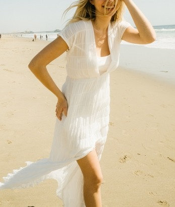 Cotton Crinkled Sheer Cover Up Beach Dress