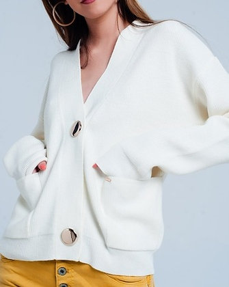 Cream Ribbed Cardigan with Gold Button Detail