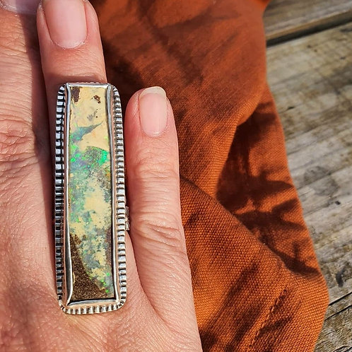 PAINTED EARTH RING -Rectangle Boulder Opal