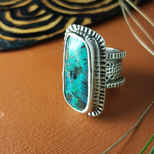 PAINTED EARTH RING - Freeform Boulder Opal