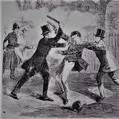'Criminal trying to shoot two detectives'. 25 jan 1868 Illustrated Police News