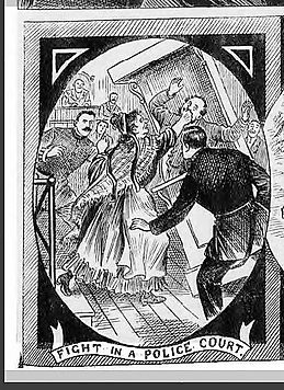 'A fight in a police court' Illustrated Police News