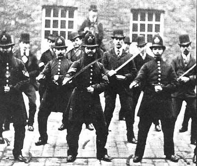 Bristol Police practicing 'drill' with cutlasses.